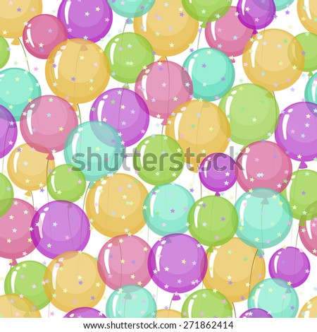 Seamless pattern of stylized, colored, transparent, inflatable balls with stars. - stock vector