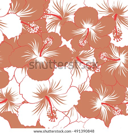 Seamless pattern of stylized floral motif, flowers, hole, spots, doodles. Vector hibiscus flowers in beige and brown colors. Hand drawn. Seamless floral background.