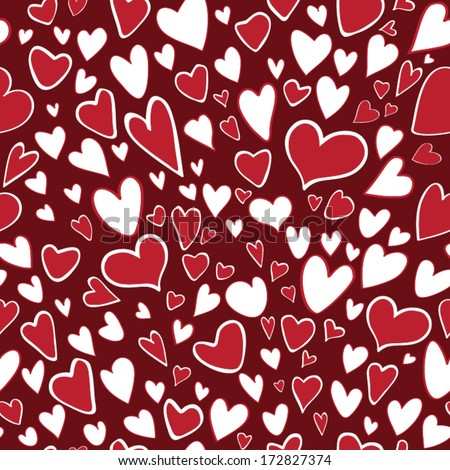 Seamless pattern of stylized hearts on chocolate background.