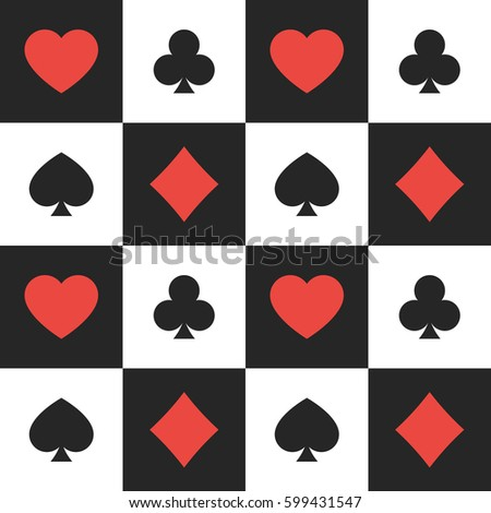 Seamless pattern of suits of playing cards. Vector illustration background