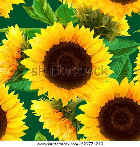 seamless pattern of sunflowers with green leaves - stock vector