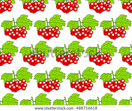 Seamless pattern of the arrowwood fruits and leaves