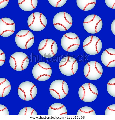 Seamless pattern of the baseball balls - stock vector