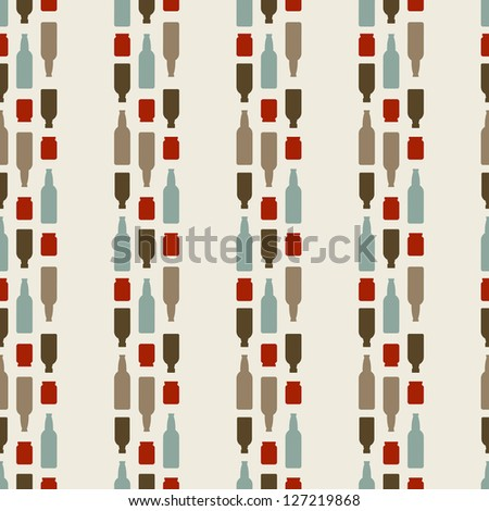 Seamless Pattern Of The Bottles - stock vector