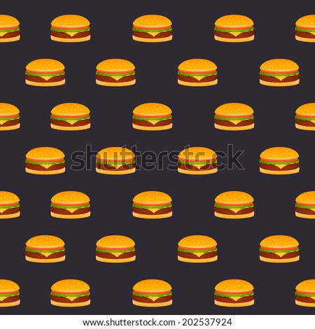 Seamless pattern of the burgers on a black background - stock vector