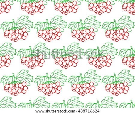 Seamless pattern of the contour arrowwood fruits and leaves
