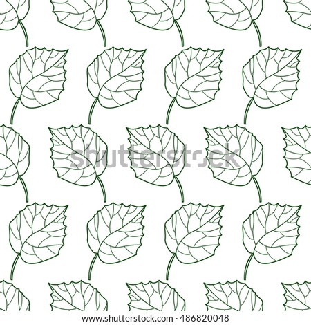 Seamless pattern of the contour leaves