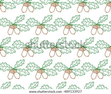 Seamless pattern of the contour oak branch with acorn fruits