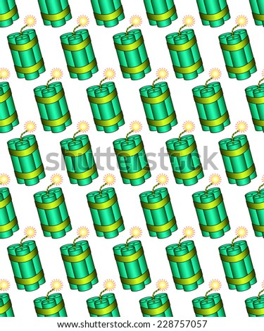 Seamless pattern of the dynamite stick bunch icons
