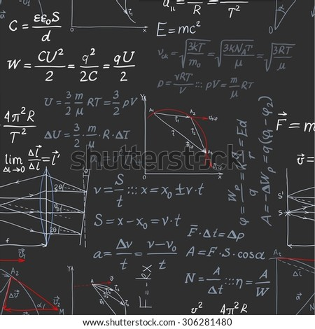 Seamless pattern of the formulas on the physics isolated on blackboard