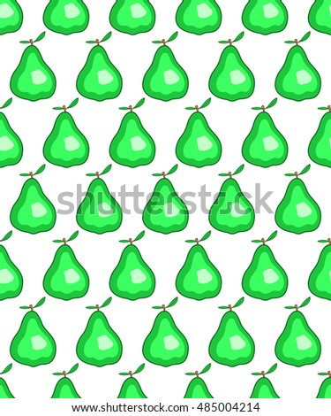 Seamless pattern of the green pear icon