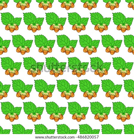 Seamless pattern of the hazel leaf and nuts icon
