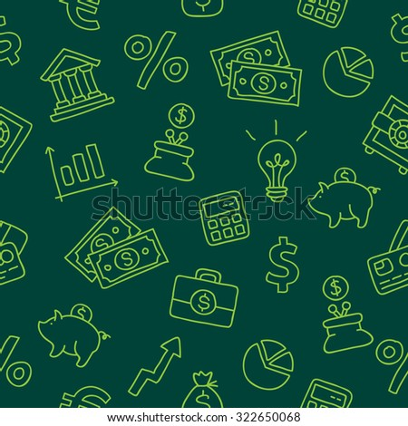 Seamless pattern of the icons of Finance on a dark green background. Vector. - stock vector