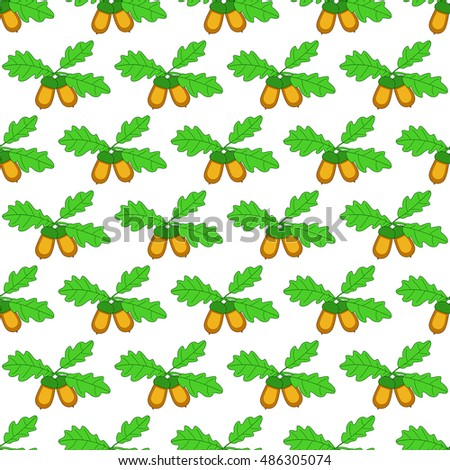Seamless pattern of the oak branch with acorn fruits
