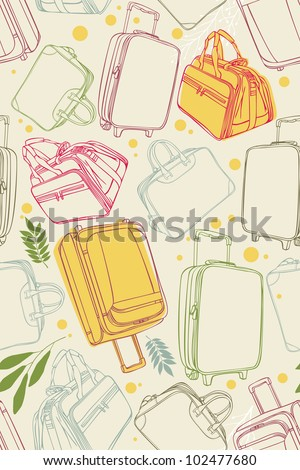 Seamless pattern of the suitcases - stock vector