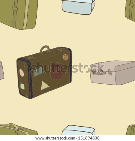 Seamless pattern of the travel bags - stock vector