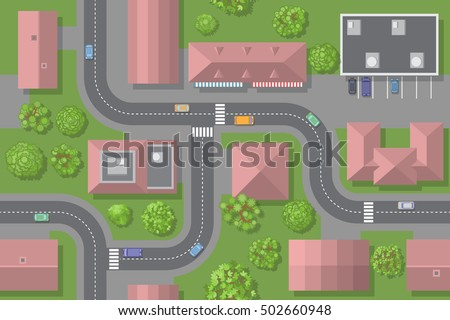 Seamless pattern of the urban landscape. (top view) Vector illustration. The city with streets, houses, roads, cars. (view from above)