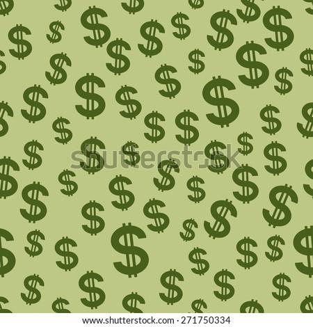 Seamless pattern of the US dollar symbols - stock vector