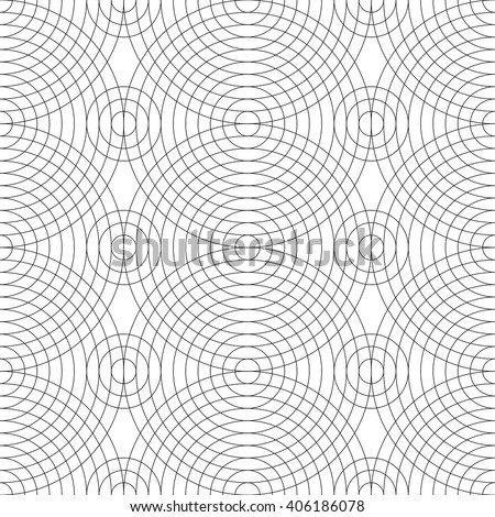 Seamless pattern of thin lines of large black concentric circles on a white background. - stock vector