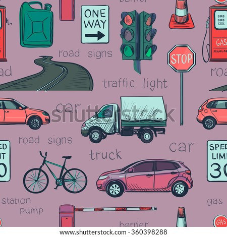 Seamless pattern of Traffic Laws icons - stock vector