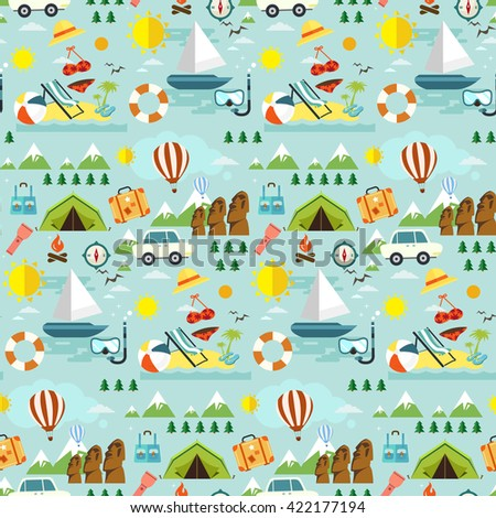 Seamless pattern of travel objects and accessories on blue background - stock vector