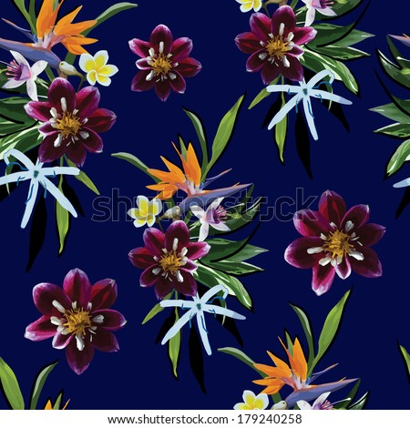 seamless pattern of tropical flowers - stock vector