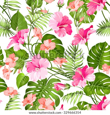Seamless pattern of Tropical flowers. Blossom flowers. Nature background. Vector illustration.