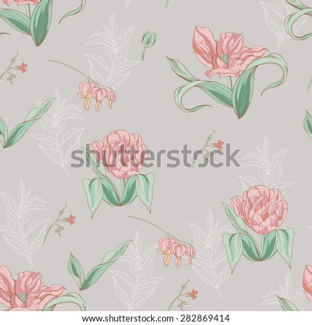 seamless pattern of tulip flowers with leaves 3