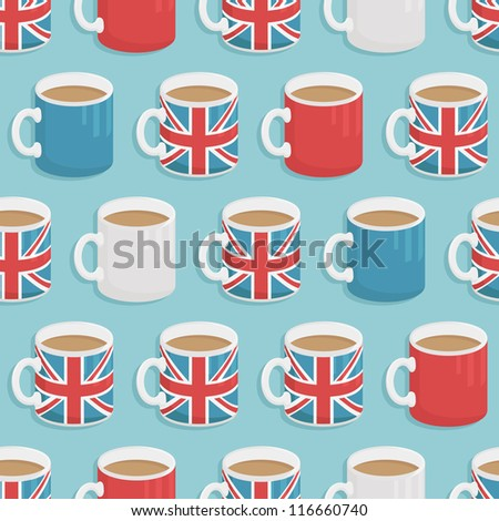 seamless pattern of united kingdom mugs of tea, with clipping path