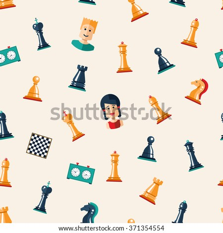 Seamless pattern of vector flat design isolated named chess icons. Collection of the king, queen, bishop, knight, rook, pawn, board, clock and players
