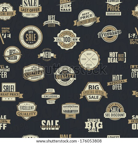 Seamless pattern of vector labels and ribbons of big sales and quality products - stock vector