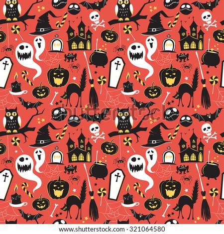 Seamless pattern Of Vintage Happy Halloween flat  icons. Halloween Scrapbook Elements. Vector illustration. Cute Halloween Characters. - stock vector
