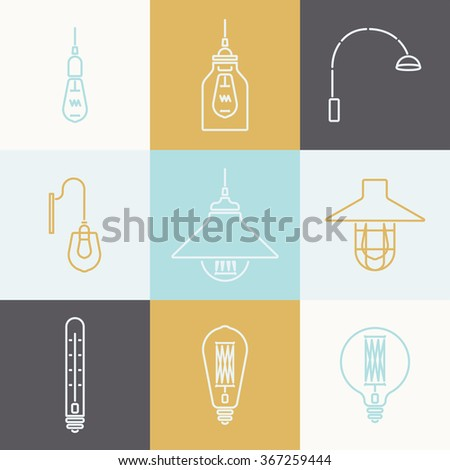 Seamless pattern of vintage light bulbs and lamps. Edison light bulbs.Template for design  catalog, website, background, covers,cards. Vector illustration - stock vector
