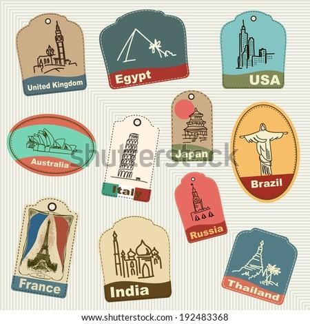 Seamless pattern of vintage retro grunge vacation & travel labels, tags, badges. - stock vector