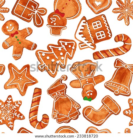 Seamless pattern of watercolor Christmas gingerbread cookies. Vector illustration - stock vector