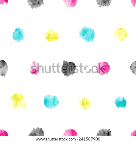 Seamless pattern of watercolor circles. Various hand-drawn CMYK elements on white background. - stock vector