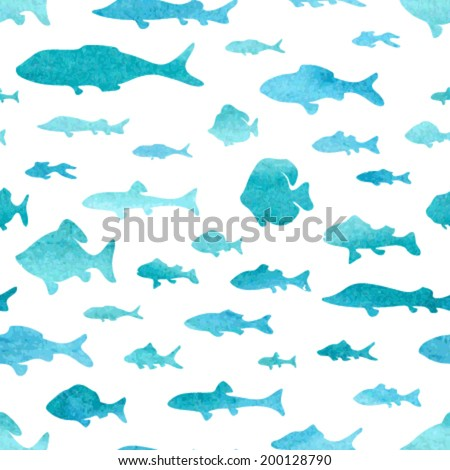 Seamless pattern of watercolor fish. Bright watercolor fishes on white background. Abstract hand drawn watercolor texture.