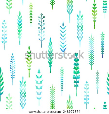 Seamless pattern of watercolour leaves. Various hand-drawn leaves on white background. - stock vector