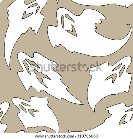 Seamless pattern of white ghosts on gray background.  Vector illustrations.