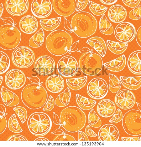 Seamless pattern of whole & sliced oranges - stock vector