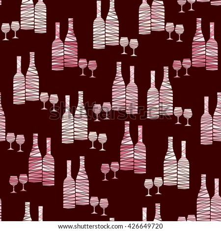Seamless pattern of wine bottles and stemware in red. Wine bottles and wineglasses in mosaic geometric style. Creative vector art for menus, wrapping, interior design, etc. - stock vector