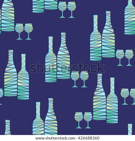 Seamless pattern of wine bottles and stemware. Wine bottles and wineglasses in mosaic geometric style. Creative vector art for menus, wrapping, interior design, etc. - stock vector