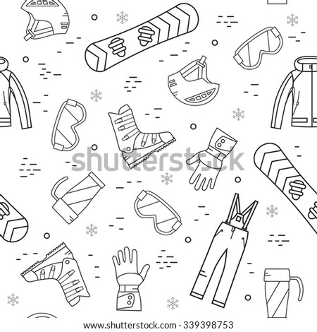Seamless pattern of winter sport. Snowboard and mountain, snow and recreation, travel outdoor, equipment, clothes.