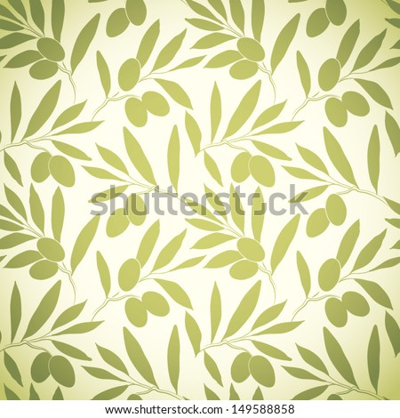 Seamless pattern olive on beige paper. Vector olive  branch. - stock vector