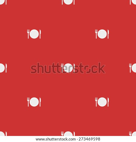 Seamless pattern on a theme meal with a plate and cutlery knife and fork on a white background red