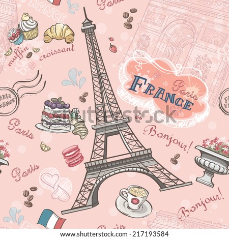 Seamless pattern on Paris from the romantic elements - stock vector
