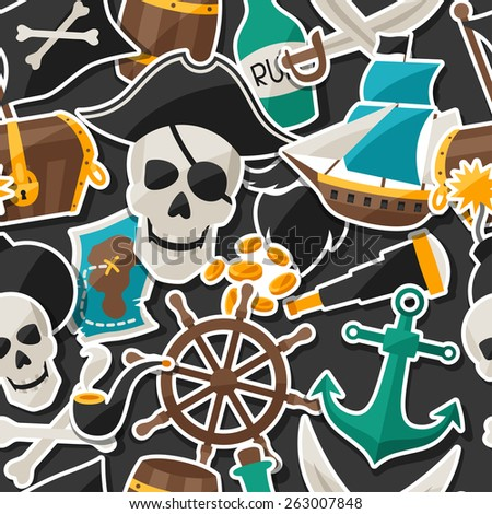 Seamless pattern on pirate theme with stickers and objects. - stock vector