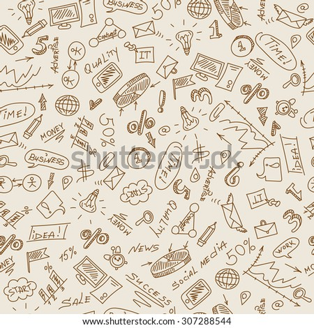 Seamless pattern on the theme of business on a light background in sepia