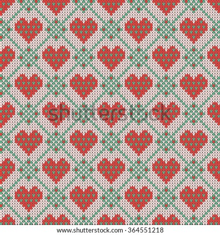 Seamless pattern on the theme of holiday Valentine's Day with an image of the Norwegian and fairisle patterns. Red hearts on a turquoise and rose background. Wool knitted texture. Vector Illustration - stock vector