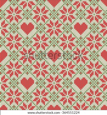 Seamless pattern on the theme of holiday Valentine's Day with an image of the Norwegian and fairisle patterns. Hearts and flowers on a beige background. Wool knitted texture. Vector Illustration - stock vector